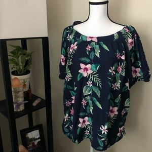 Old Navy Blue x Tropical Flower Short Sleeve Tunic